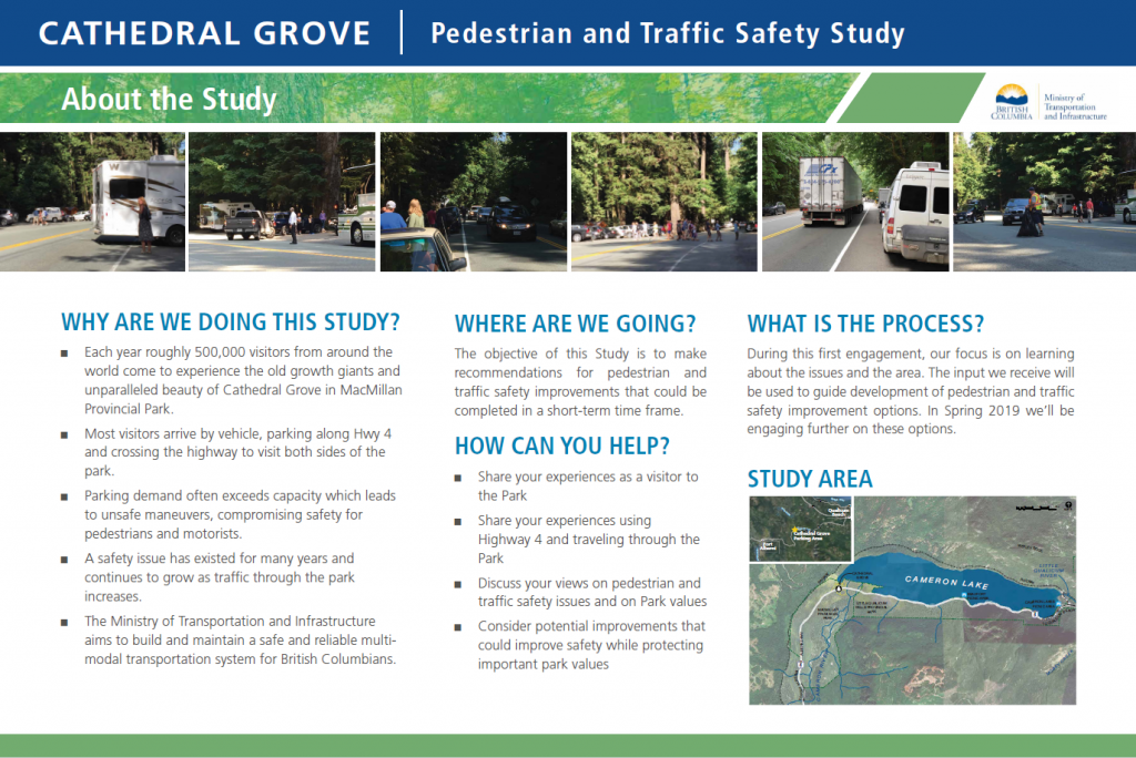 Information board about the pedestrian traffic safety study