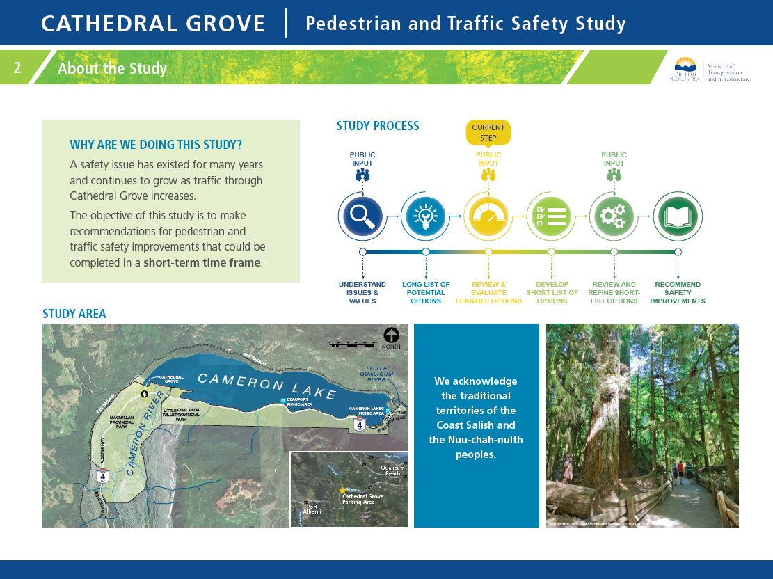 Why are we doing this study? A safety issue has existed for many years and continues to grow as traffic through Cathedral Grove increases. The objective of this study is to make recommendations for pedestrian and traffic safety improvements that could be completed in a short-term time frame.