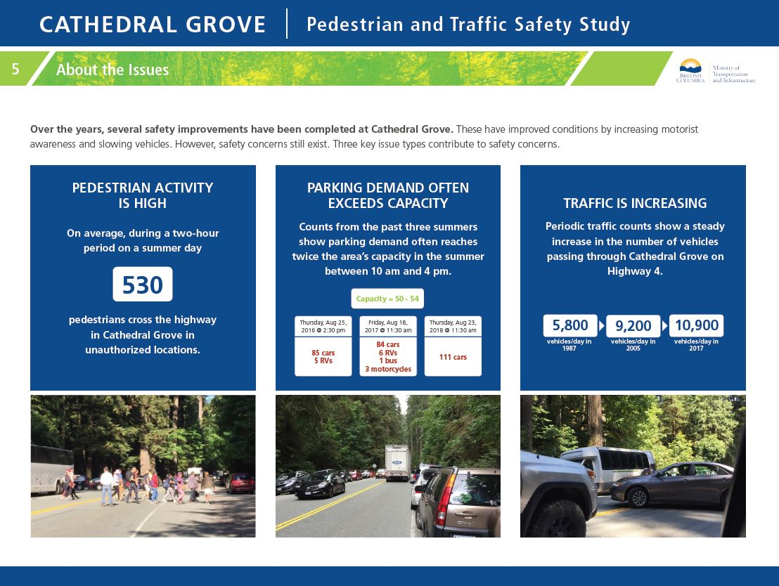 About the issues. Over the years, several safety improvements have been completed at Cathedral Grove. These have improved conditions by increasing motorist awareness and slowing vehicles. However, safety concerns still exist. Three key issue types contribute to safety concerns.
