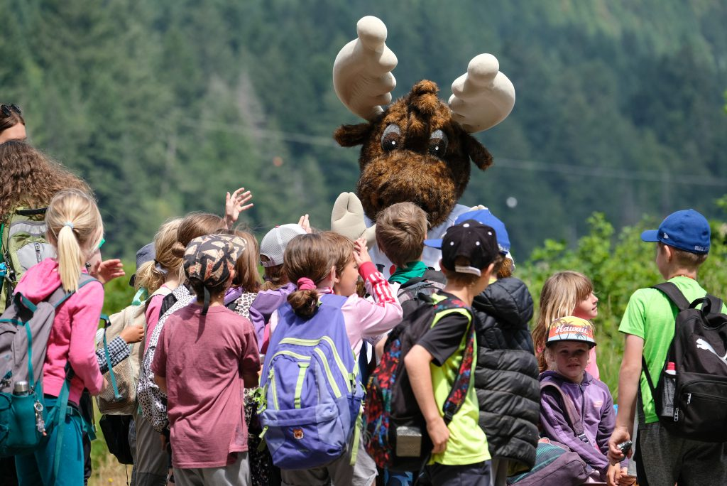 Jerry the Moose says hi to students on a GO Grants field trip.